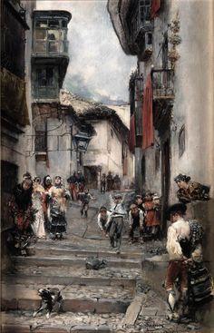 """""""Cuesta de San Gregorio"""", El Albaicín, óleo sobre tabla, 27 x 17,5 cm. Colección privada. Obra de José García Ramos, pintor sevillano."""