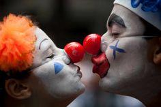 Kissing Clowns, street carnival Rio De Janeiro, Brazil, 2013