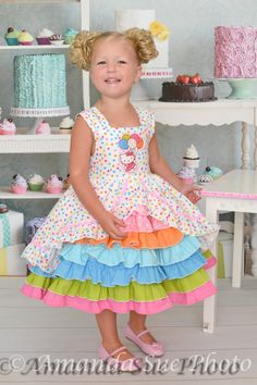 Hello Kitty birthday party confection ruffled dress by SoSoHippo, $85.00 Wish I could make this...never enough time!