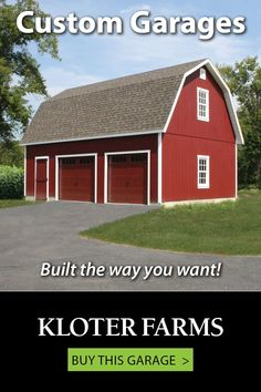 Our selection of garages is composed of simple designs that are able to be very customized - right down to every detail.And we'll walk you through every step. How will you design yours? #kloterfarms #garage #2cargarage L Shaped Stairs, Ridge Vent, Gable Vents, Gambrel Roof, Custom Garages, Garage Design, Single Doors, Furniture Styles, Simple Designs