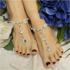 anchor barefoot sandals - anchor foot jewelry - anchor footless sandles