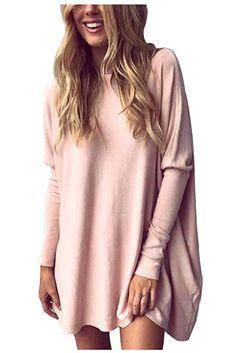 Amazon: Aifer Women Casual Bat Sleeve Oversized Blouse Loo...