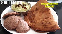 ఒకే పిండి తో క్రిస్పీ రాగిదోస,మెత్తని రాగిఇడ్లీ Calciumrich #Ragidosa #R... Indian Breakfast, Breakfast Items, Chutney, Cookies, Desserts, Recipes, Food, Crack Crackers, Tailgate Desserts