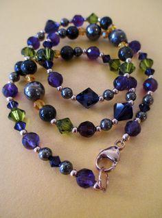 Amethyst Pyrite Green Garnet and Swarovski Crystal Necklace