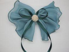Hair Bows,lake blue chiffon bow hair bow, hair clip, Bow For Hair, big bow,bow for women