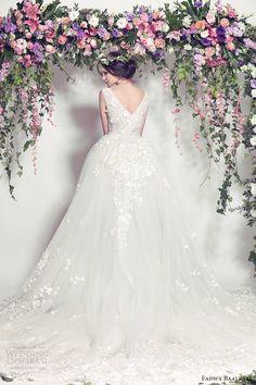 fadwa baalbaki spring 2016 couture sleeveless v neck ball gown wedding dress (01) bv romantic vback train