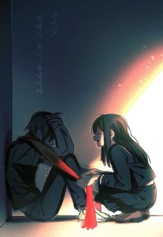 This seems cute, but there need to be more manga/anime series where it's the guy who's a light in the girl's life. The guy is the happy, positive, encouraging one and the girl is the one who's hurt and broken. Sad Anime Couples, Anime Love Couple, Cute Couples, Anime Couples Hugging, Couple Hugging, Dark Anime, Hot Anime, Image Couple, Couple Photos