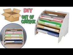 Cardboard lamp DIY (hexagon) - best out of waste project - EzyCraft Cardboard Organizer, Cardboard Storage, Diy Storage Boxes, Cardboard Box Crafts, Desk Organization Diy, Folder Organization, Diy Desktop Organizer, Carton Diy, Office Files