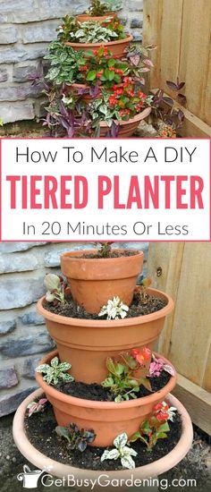Tiered outdoor planters are wonderful for adding height to your garden, and an easy way to try your hand at container vertical gardening. Making your own tiered flower pots vertical planter is fun and easy! Get the full step-by-step instructions for how to make a tiered planter.