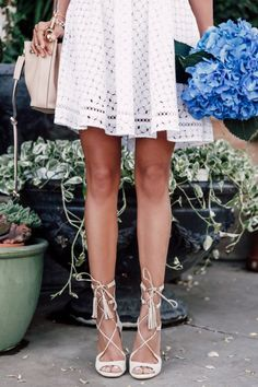 Full White Skirt Worn With Pretty Lace Up Nude Sandals + The Perfect Accessory - A Huge Hydrangea