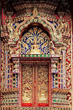 Wat Phra Phuttabat Si Roy, วัดพระพุทธบาทสีรอย – Decor is art Cool Doors, Unique Doors, Portal, Beautiful Architecture, Art And Architecture, Door Gate, Architectural Features, Painted Doors, Wooden Doors