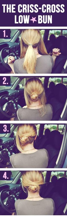 Am I the only one that finds it odd she's doing a bun tutorial in the drivers seat of a car? Weird.