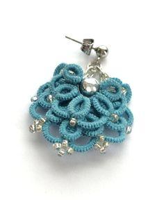 Blue Aqua Earrings Boho Earrings Tatted earrings by LaceLounge