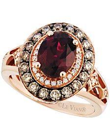 Le Vian Raspberry Rhodolite Garnet (2 ct. t.w.) and Diamond (3/4 ct. t.w.) Ring in 14k Strawberry Rose Gold