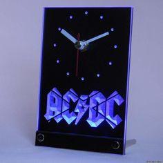 Ac Dc Desk Clock Band Music Bar Club Table Neon Clock Rock Fans Gift