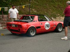Fiat X1/9 at Duryea Hillclimb 2007 -- And he's not going to fit.