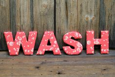 Fabric Letters  WASH laundry room decor by thehensden on Etsy, $18.00