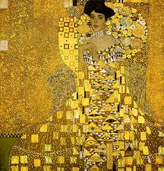 Gustav Klimt(1862-1918) / Adele Bloch-Bauer I, 1907, oil on canvas, Neue Galerie, NYC. More