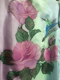 45 x 180 cm/ 21 x 70 in. Handpainted roses with a hummingbird Silk chiffon shawl Chiffon Shawl, Silk Chiffon, Fabric Paint Designs, Peacock Tail, Silk Painting, Hummingbird, Roses, Hand Painted, Unique Jewelry