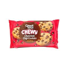 Great Value Chewy Chocolate Chip Cookies, 14 oz Walmart.com ($2) ❤ liked on Polyvore featuring food and filler
