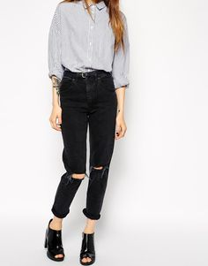 Farleigh High Waist Slim Mom Jeans in Washed Black with Busted Knees