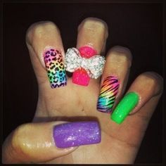 Funky Bow Nails. More nail inspirations on http://bellashoot.com
