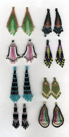 Delica Bead Earring Free Patterns | Anyway, I designed an earring pattern with a 3-color palette; Color A ...