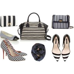 """striped accessories"" by theaccessorizer on Polyvore #poepoepurses #etsy #infinityscarf #scarf #nauticalscarf"