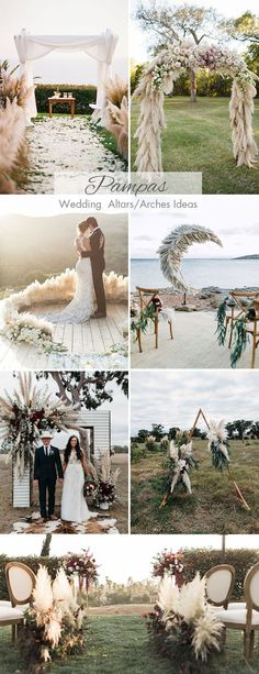 pampas grass wedding ceremony arch and altar ideas #weddingceremony