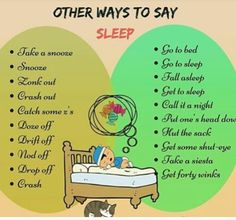 """Different Ways to Say """"I'm Going to Sleep"""" in English – ESL Buzz Slang English, English Fun, English Idioms, English Phrases, Learn English Words, English Writing, English Study, English Lessons, English Grammar"""