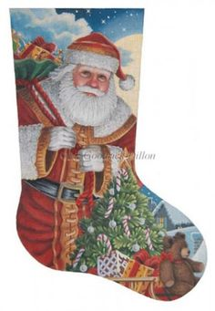 Santa Moonlit Arrival (LGDAXS458) is a Christmas needlepoint stocking canvas design from Susan Roberts Needlepoint available at the Needle Nook of La Jolla.