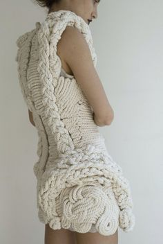 Rope dress - i believe it´s by Wunderking 3d Fashion, Knitwear Fashion, Knit Fashion, Cute Fashion, Fashion Details, Womens Fashion, Fashion Design, Fashion News, High Fashion