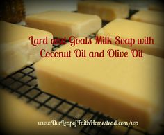 This is an easy, basic, cold process soap recipe with lard, coconut oil, olive oil and goat milk.  http://ourleapoffaithhomestead.blogspot.com/2014/08/lard-and-goats-milk-cold-process-soap.html