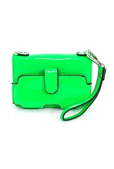 Patent iPhone Wristlet in Neon Green