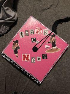"University of Nebraska - Lincoln / ""Thank U, Next"" - Ariana Grande / graduation cap with bitmoji / Grad cap ideas / lyrics / lyric / text / glitter / rhinestones / grad / mortar board Custom Graduation Caps, Graduation Cap Designs, Graduation Cap Decoration, Graduation Diy, Graduation Invitations, Graduation Announcements, Funny Grad Cap Ideas, Ariana Grande, Disney Grad Caps"