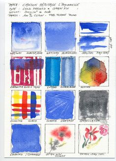 Filled Watercolour Paper Test Style Sheet