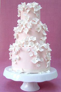 pink-falling-blossoms-wedding-cake by Rosalind Miller