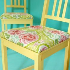 Add upholstered cushions to plain wood chairs!