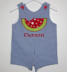 Boys Watermelon Longall or Shortall Watermelon by BudsnBranches, $54.00