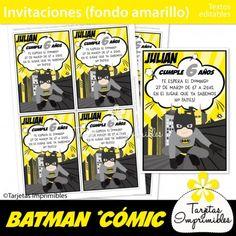 Tarjetas para imprimir superhéroes Batman. Batman kit de decoraciones de fiesta imprimibles. Banderines, etiquetas para candy bar, cajitas, tarjetas de invitación para cumpleaños y mucho más! #batman #imprimiblesbatman #batmanprintables #batmanpartyideas #cumpleaños batman #batmanparty #cumpleañosbatman #superheroes #superheroesbatman