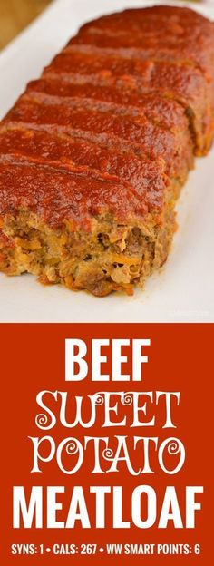 Slimming Eats Beef and Sweet Potato Meatloaf - gluten free, dairy free, paleo, Slimming World and Weight Watchers friendly (Whole Potato Recipes) Syn Free Food, Paleo Recipes, Cooking Recipes, Meat Recipes, Meatloaf Recipes, Easy Cooking, Gluten Free Meatloaf, Slimming Eats, Slimming Recipes