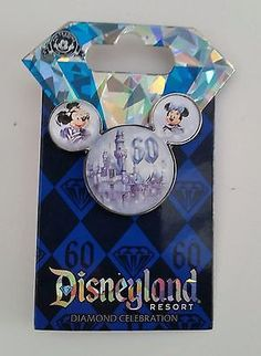 Disneyland 60th Anniversary Diamond Celebration Mickey & Minnie Mouse Head Pin