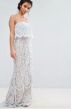 All Over Lace Bandeau Dress - lace strapless dress by Jarlo | Wedding Sparrow