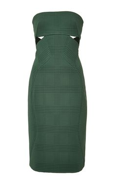 Prince Of Wales Bonded Crepe Bustier Cocktail Dress by Zac Posen for Preorder on Moda Operandi