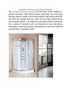 """""""Advantages of Utilizing Quadrant Shower Enclosures"""" published by """"showerenclosure"""" on @edocr Quadrant Shower Enclosures, Best Sites, Shades Of White, Create Space, Shower Heads, Bathroom Wall, Relax, Home Appliances, Things To Come"""
