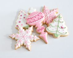 Christmas ornament cookies in pink