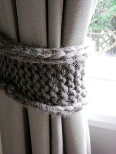 Great idea! Curtain tie backs. Would be great in a crochet stitch!
