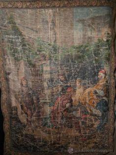 Maravilloso tapiz fines s XVIII pintado a mano, al óleo, preciosa escena neogótica, vea dentro
