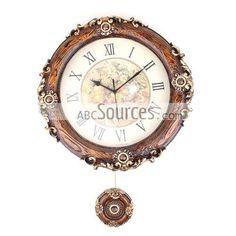 China Wholesale European Style Resin Decorative Wall Clocks, Pendulum Clock, Round Antique Clock (35cm)