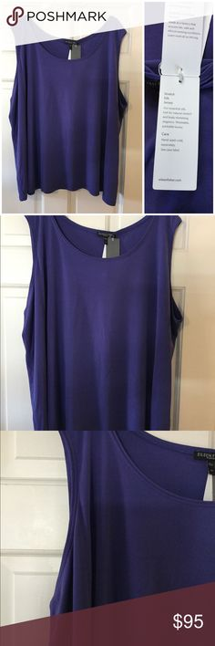 """🆕➕ Eileen Fisher System stretch silk jersey Iris 100% silk. See matching jacket in my other listing! Underarm across 28"""". Length 28"""". Brand new with tag. Smoke free and pet free. Eileen Fisher Tops Tank Tops"""